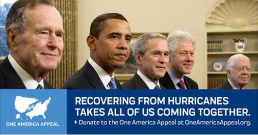 5 American Presidents launch One America to help Hurricane Victims